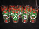 Set of (8) Vintage Hazel Atlas Merry Christmas Happy New Years Tumblers