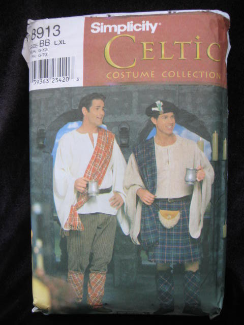 New Simplicity 8913 Men's Celtic Kilt & More Halloween Costume Sewing Pattern