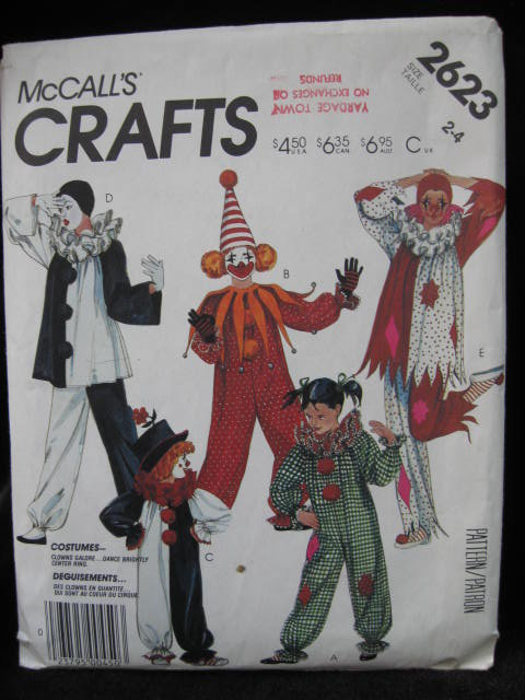 New Vintage McCall's Crafts  2623, Boys' & Girls' Clown Halloween Costume Sewing Pattern Size 2 4