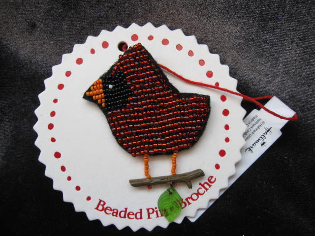 Hallmark  Beaded  Red Northern Cardinal  Brooch or Ornament  2008