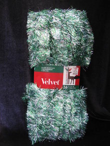 New 24 ' Vintage Velvet Green & Silver Tinsel