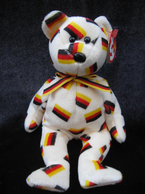 Ty Deutschland Retired German  Germany Exclusive   Beanie Baby Bear With Flag Nose