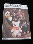 New Vintage Simplicity Crafts 8537  Teddy Bears  Sewing Pattern
