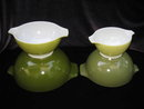 Set of 4 Vintage Green or Verde  Pyrex Cinderella Nesting Mixing Bowls