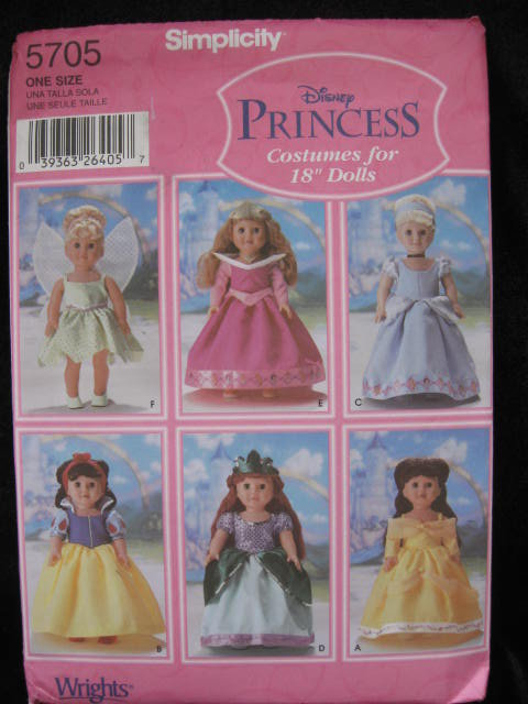 Simplicity  # 5705 Disney Princess Costumes For 18