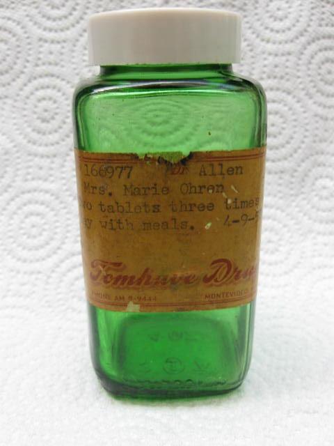Prescription Bottle Vintage Green Duraglas Prescription Bottle  1950's