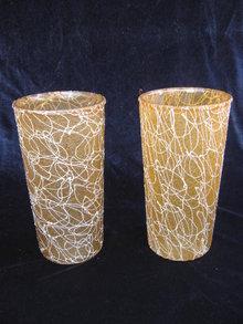 2 Gold & White  Eames Era Tumblers Spaghetti String  Rubber Coated Tumblers Glasses