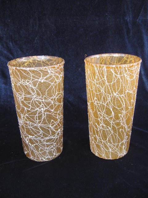 2 Gold & White  Eames Era Tumblers Spaghetti String  Rubber Coated Tumblers Glasses