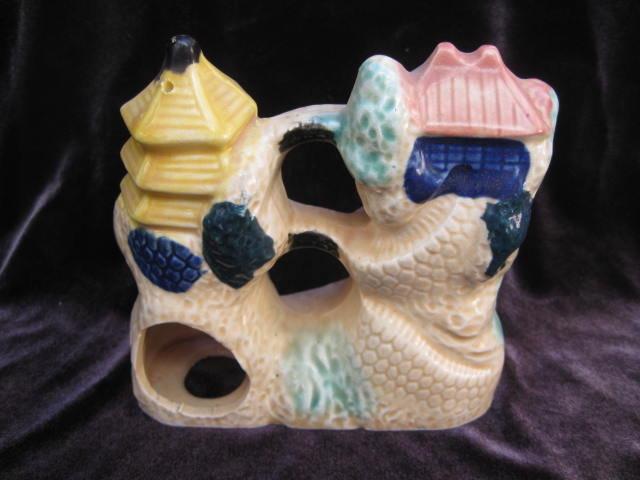 Vintage  Pagoda  Fish Aquarium Ceramic Figurine Japan