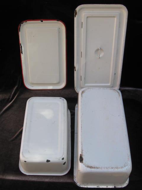 2 Vintage Enamelware Covered Refrigerator Pans