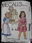 Vintage McCall's 8686 Little House On The Prairie  Children's & Girls Dress Pinafore Bonnet & Tie Belt Sewing Pattern