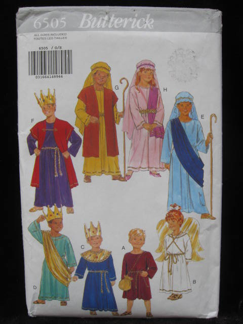New Butterick 6506 Boys' & Girls' Halloween or Christmas Nativity Costume Sewing Pattern King Shepherd Angel Sewing Pattern