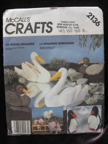 New Vintage McCall's Crafts 2146 Swan Duck Pig, Lamb Penguin Animal Package Sewing Pattern