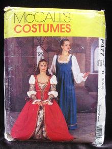 New McCall's P477 477  Misses' Italian Renaissance Medieval Juliet Halloween Costume Sewing Pattern