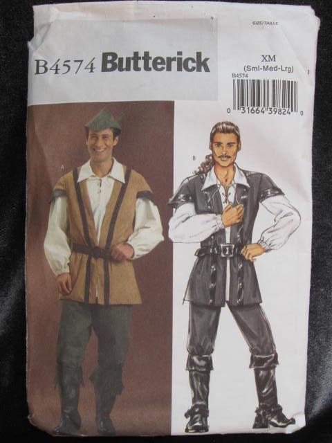 New Butterick B4574 Men's Robin Hood Pirate  Halloween Costume Sewing Pattern
