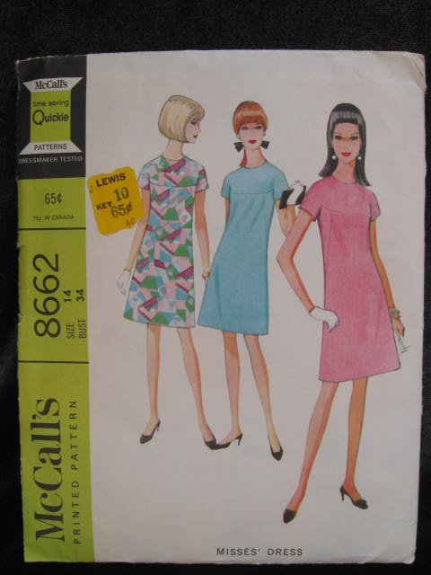 New Vintage McCall's 8662 Misses' Shift Dress Sewing Pattern   1960's