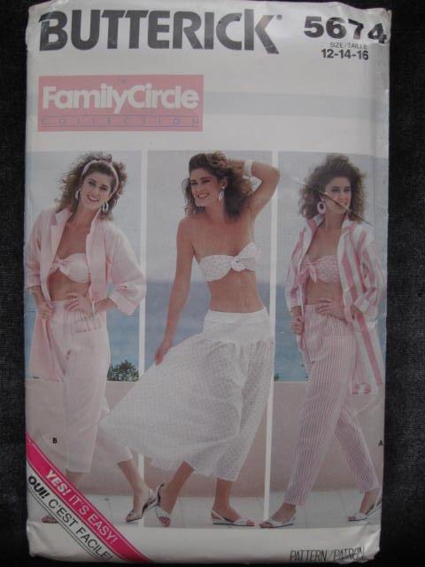 New Vintage Butterick 5674 Misses' Summer Shirt, Bra, Pants & Skirt Sewing Pattern 1980's   Beachwear or Cruise Wear