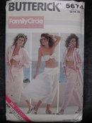 New Vintage Butterick 5674 Misses' Summer Shirt, Bra, Pants & Skirt Sewing Pattern 1980's   Beachwear or Cruise Wear