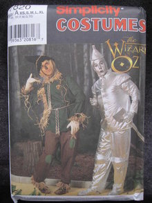 New Simplicity 7820 Men's or Teen Boys' Wizard of Oz Scarecrow & Tin Man Halloween Costume Sewing Pattern   OOP