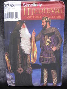 New Simplicity 9753  Men's  Medieval Renaissance King Arthur Merlin Wizard     Halloween Costume Sewing Pattern   OOP