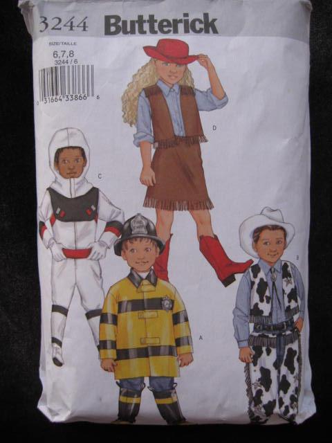 Butterick 3244 Boys' & Girls' Cowboy  Cowgirl Fireman Astronaut   Halloween  Costume Sewing Pattern