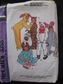 Vintage McCall's 3355 Boy's & Girl's Bunny Tiger, Cat Mouse PJ's Animal Halloween Costume Sewing Pattern
