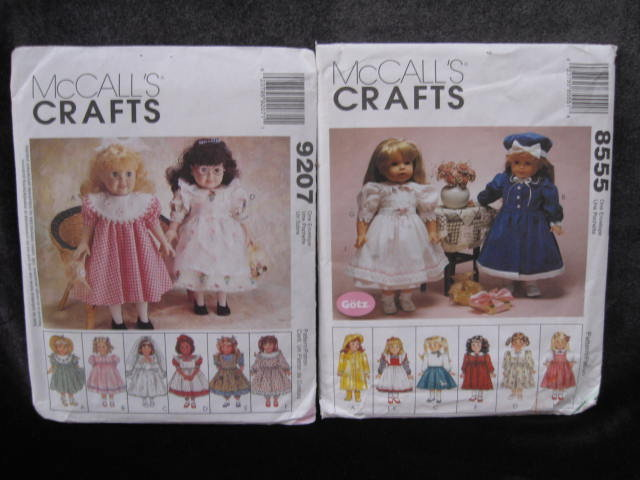 2 McCall's Crafts 9207 & 8555 Doll Clothes for 18