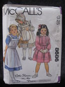 New Vintage McCall's 8686 Little House On The Prairie  Children's & Girls Dress Pinafore Bonnet & Tie Belt Sewing Pattern
