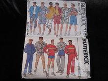 2 Vintage Butterick 4763 & 6893  Men's Summer Shorts Shorts Sportswear Sewing Pattern 1980's