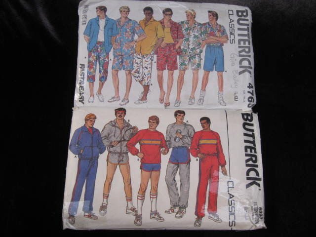 2 Vintage Butterick 4763 & 6893  Men's Summer Shorts Shorts Sportswear Sewing Pattern 1980's