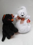 2 Ty Pluffies Pluffie Trickery The  Halloween  Black Cat  & Frighten The Ghost  Retired