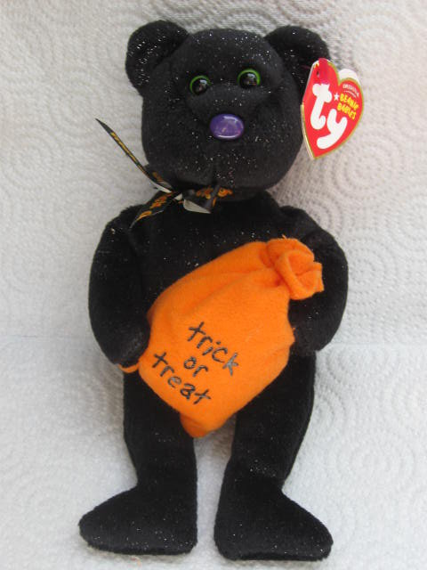 Ty Retired Trickster The Halloween Bear  Beanie Baby  Retired