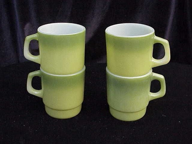 4 Fire King Variegated Green Stacking Mugs