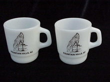 2 Vintage  Milk Glass Fountain Hills  -  Water Fountain Advertising Mugs