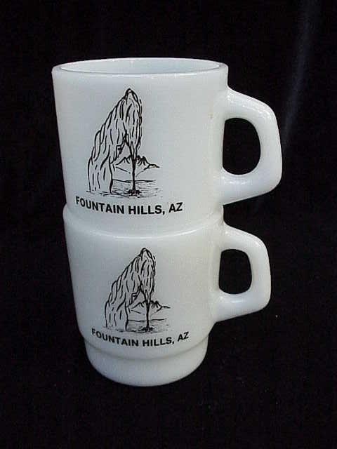 2 Vintage  Milk Glass Fountain Hills  -  Water Fountain Advertising Mugs