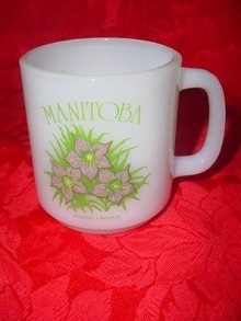 Manitoba, Canada Prairie Crocus Flower Milk Glass Mug