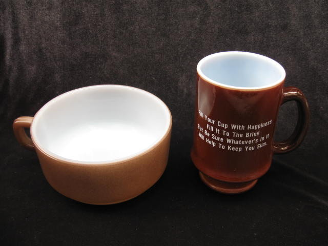 Fire King  Fired On Chili  Or Soup Bowl & The Diet Workshop Mug