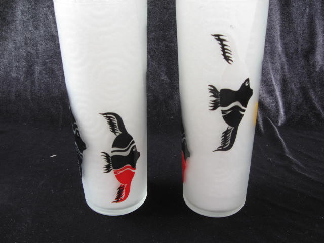 Set of 2 Vintage Federal Tropical Fish Frosted Tumblers