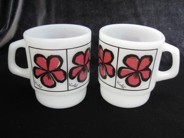 2 Vintage Fire King Violet  Flower Floral Mugs