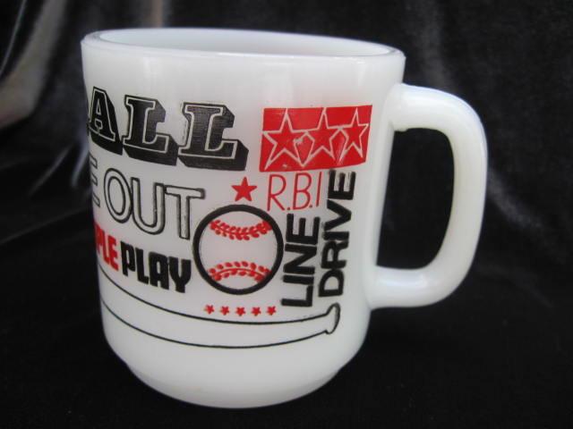 Vintage Baseball Mug Milk Glass With Slogans