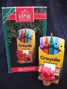Hallmark 1991 Bright  Vibrant Carols  Crayola Crayon 3rd  In Series   Christmas Tree Ornament