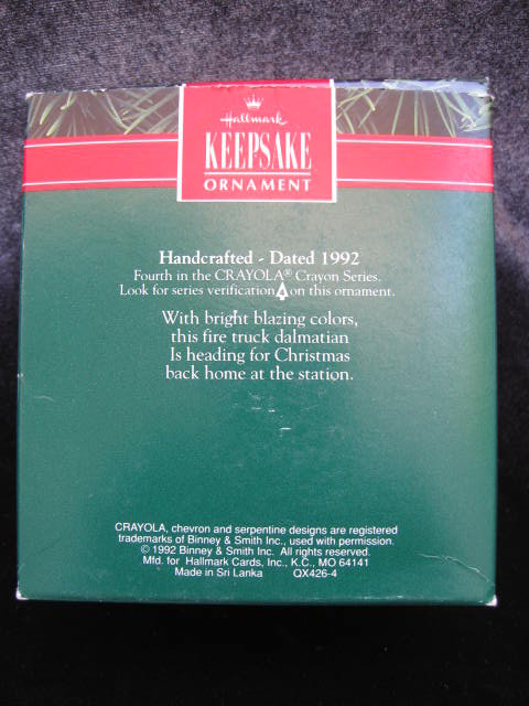 Hallmark 1992  Bright  Blazing Colors   Crayola Crayon 4th   In Series   Christmas Tree Ornament