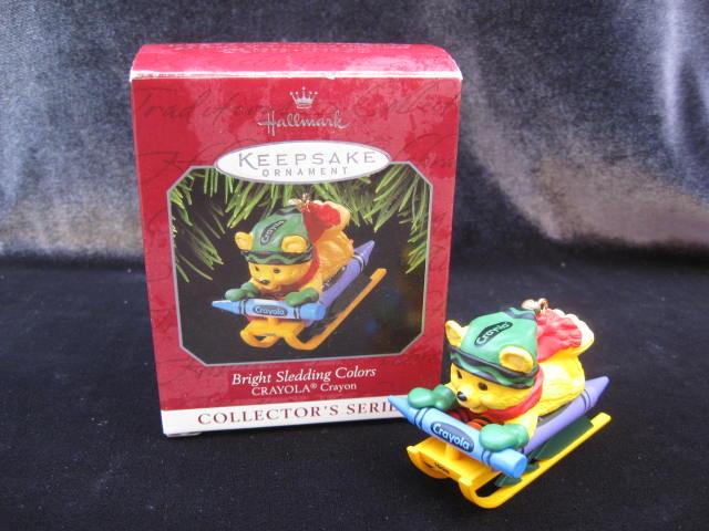 Hallmark 1998 Bright Sledding Colors  Crayola Crayon 10th   In Series   Christmas Tree Ornament