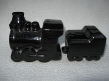 Vintage Set  Souvenir Locomotive and Coal Car Train Salt & Pepper Shakers