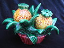 Vintage 3 Piece Set Pineapple With Holder Salt & Pepper Shakers