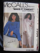 New Vintage McCall's 7364 Jacqueline Smith Cover Up Dress or Top & Pants Sewing Pattern 1980's