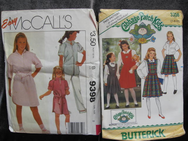 Lot of 2 New Vintage McCall's 9398 & Butterick 3356 Girls Dress or Tunic Pants Skirt With Detachable Bib Sewing Patterns 1980's