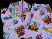 Nick & Nora Farm Fresh  Fruit Labels  Pink Pajamas PJ's Size M
