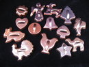 Lot of 14  Vintage Copper Colored Cookie  Cutters