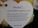 Ty Chickie The Baby Chick  Retired Beanie Baby